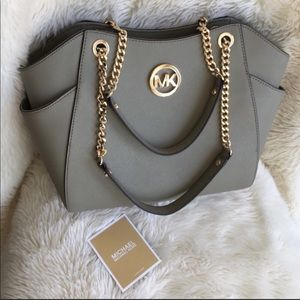 Michael Kors Saffiano Leather Gold Chain Tote